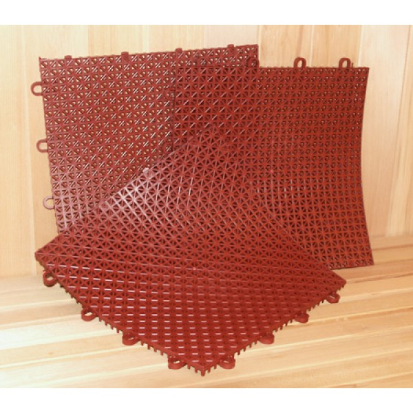Superdek Interlocking Molded Plastic Floor Tiles in Terra Cotta