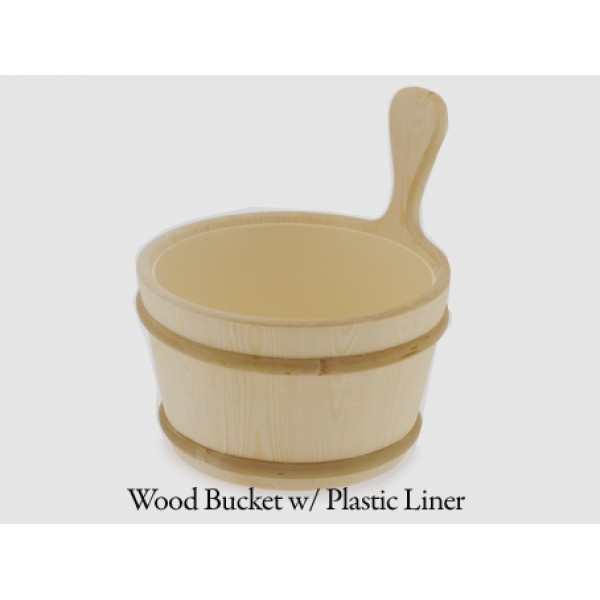 Wood Bucket with Plastic Liner