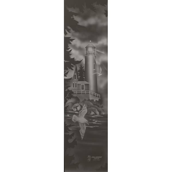 Lighthouse Design Etched Glass for 2' Doors