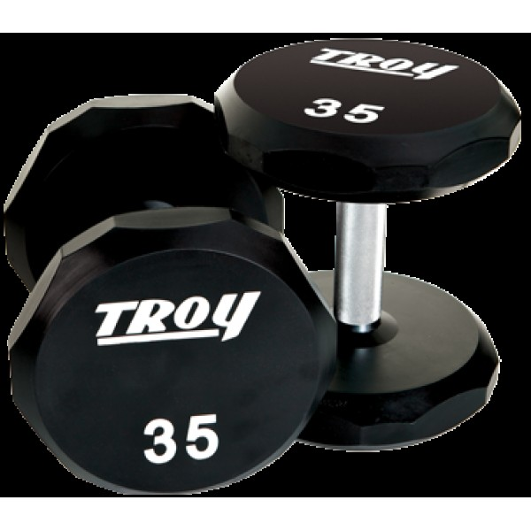 Solid Urethane Dumbbells, 12 Sided, Set of 130-150 lb.