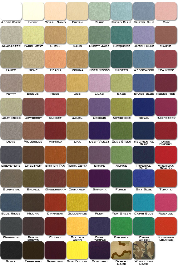 Legend Paint And Upholstery Color Chart